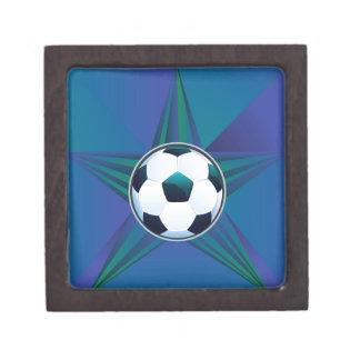 Soccer Ball on Rays Background Keepsake Box