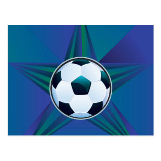 Soccer Ball on Rays Background Postcard