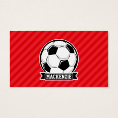 Soccer Ball On Red Diagonal Stripes Business Card at Zazzle