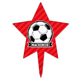 Soccer Ball on Red Diagonal Stripes Cake Topper