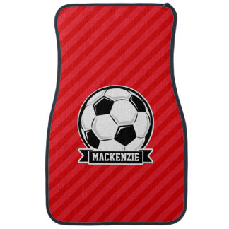 Soccer Ball on Red Diagonal Stripes Car Mat