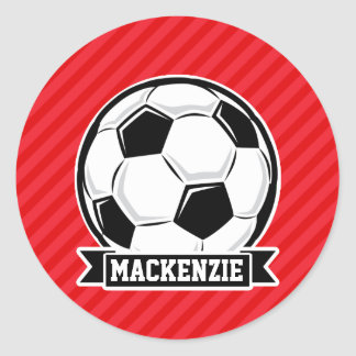 Soccer Ball on Red Diagonal Stripes Classic Round Sticker