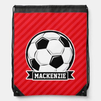 Soccer Ball on Red Diagonal Stripes Drawstring Backpack