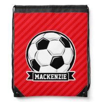 Soccer Ball on Red Diagonal Stripes Drawstring Bag