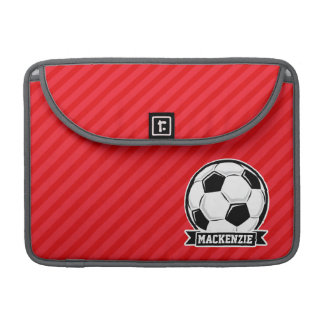 Soccer Ball on Red Diagonal Stripes Sleeves For MacBook Pro