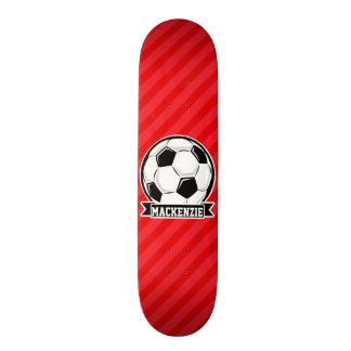 Soccer Ball on Red Diagonal Stripes Skateboards