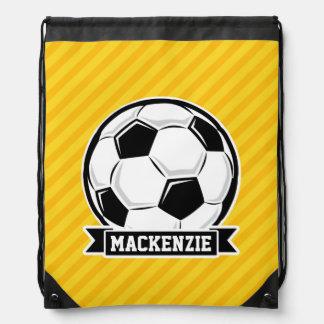 Soccer Ball on Yellow Stripes Drawstring Bag