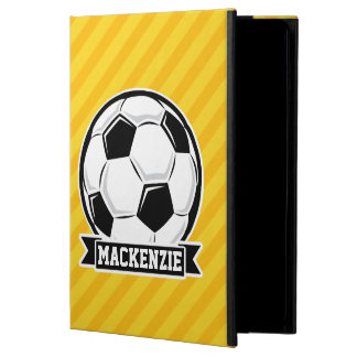 Soccer Ball on Yellow Stripes iPad Air Cover