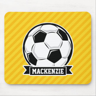 Soccer Ball on Yellow Stripes Mouse Pad