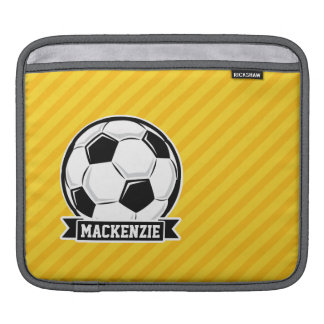 Soccer Ball on Yellow Stripes Sleeve For iPads