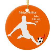 Soccer ball orange ornament