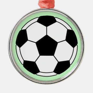 Soccer ball round metal christmas ornament