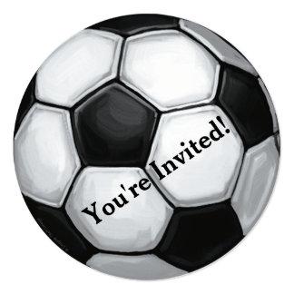 """Soccer Ball Party Invitation 5.25"""" Square Invitation Card"""