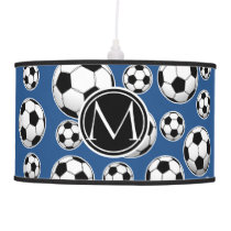 Soccer Ball Pattern Classic Blue Hanging Lamp