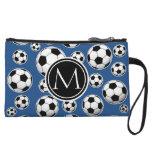 Soccer Ball Pattern Classic Blue Wristlet Purse