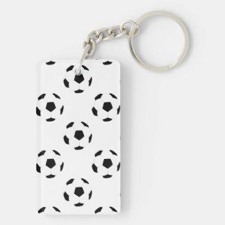 Soccer Ball Pattern Double-Sided Rectangular Acrylic Keychain
