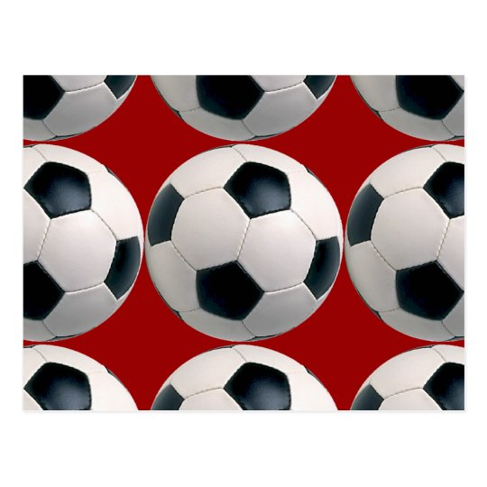 Soccer Ball Pattern on Red Postcard