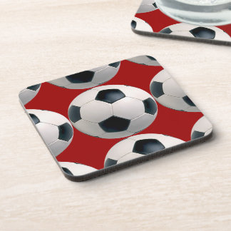 Soccer Ball Pattern Red Coasters