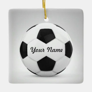Soccer Ball Personalized Name Decor Ceramic Ornament