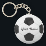 "Soccer Ball Personalized Name Keychain<br><div class=""desc"">Enter a name. A gift your friends. Digital art with the theme soccer. Black and white. Art by José Ricardo</div>"
