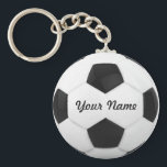 "Soccer Ball Personalized Name Keychain<br><div class=""desc"">Enter a name. A gift your friends. Digital art with the theme soccer. Black and white. Art by Jos&#233; Ricardo</div>"