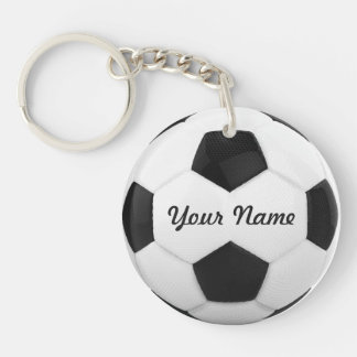 Soccer Ball Personalized Name Sport Double-Sided Round Acrylic Keychain