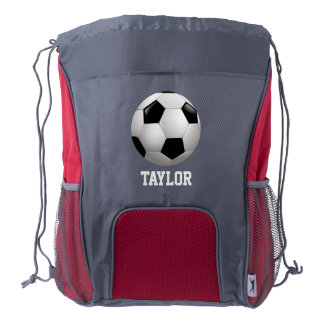 Soccer Ball Personalized Sports Drawstring Backpack