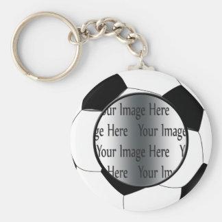 soccer ball photo basic round button keychain