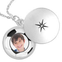 soccer ball photo frame silver plated necklace