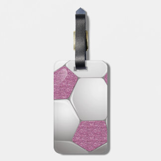 Soccer Ball Pink Glitter Effect Tag For Bags