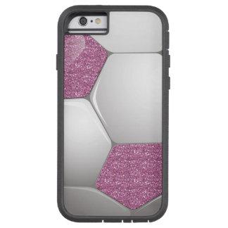 Soccer Ball Pink Glitter Effect Tough Xtreme iPhone 6 Case