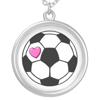 Soccer Ball Pink Heart Necklaces