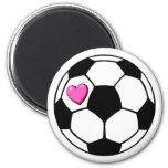 Soccer Ball Pink Hrt 2 Inch Round Magnet