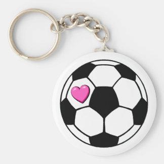 Soccer Ball Pink Hrt Basic Round Button Keychain