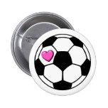 Soccer Ball Pink Hrt Pinback Button