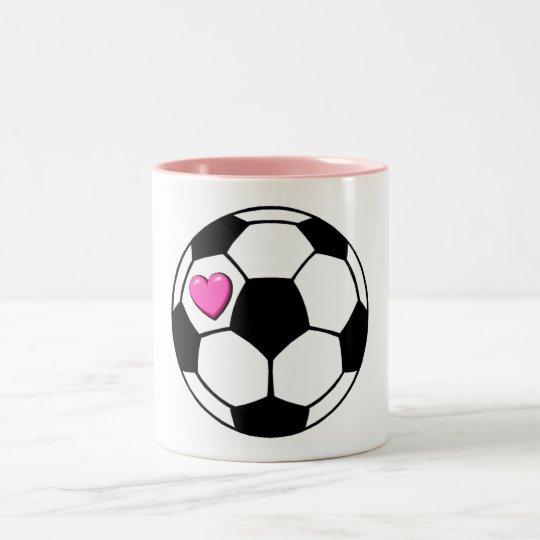 Soccer Ball Pink Hrt Two-Tone Coffee Mug