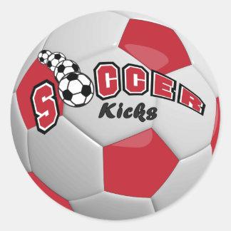 Soccer Ball Players Kicks |  Dark Red Classic Round Sticker