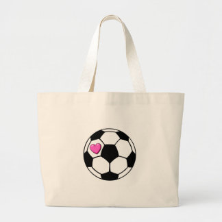 Soccer Ball (Pnk Hrt) Large Tote Bag