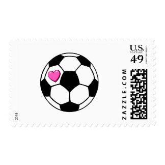 Soccer Ball (Pnk Hrt) Postage Stamp