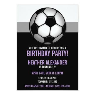Soccer Ball Purple & Black Birthday Invitations