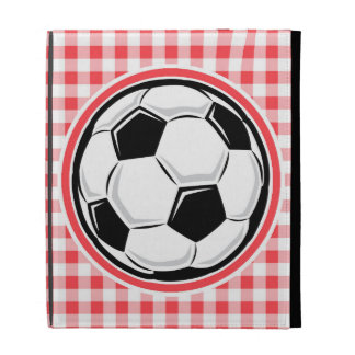 Soccer Ball Red and White Gingham iPad Folio Cases