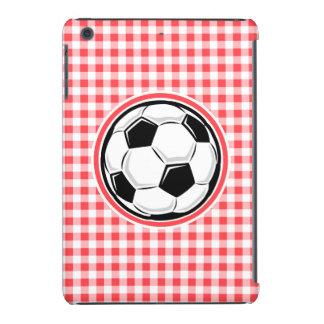 Soccer Ball Red and White Gingham iPad Mini Retina Covers