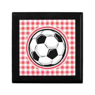 Soccer Ball; Red and White Gingham Gift Box