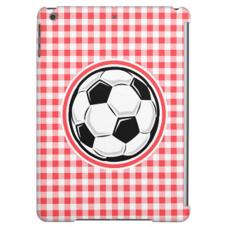 Soccer Ball Red and White Gingham Case For iPad Air