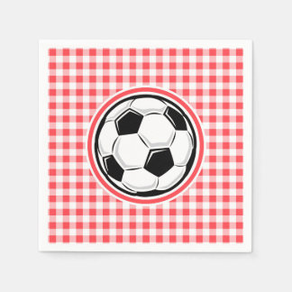 Soccer Ball; Red and White Gingham Disposable Napkins
