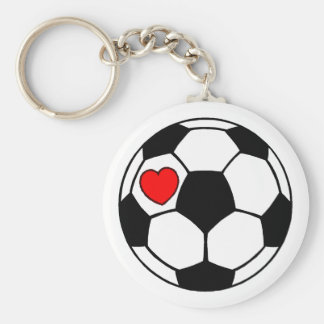 Soccer Ball (Red Heart) Basic Round Button Keychain