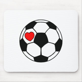 Soccer Ball (Red Heart) Mouse Pad