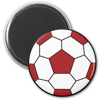 Soccer Ball Red Magnet