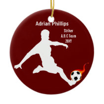 Soccer ball red ornament