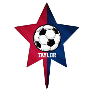 Soccer Ball; Red, White, and Blue Cake Topper